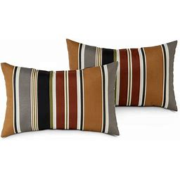 South Pine Porch AM5811S2-BRICK Brick Stripe Outdoor 19x12-inch Rectangle Accent Pillow, Set Of 2